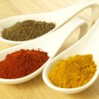 Cumin, turmeric and pepper — Stock Photo