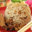 Stock Photo: Rice dessert with almonds