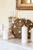 Mediterranean interior - candles and ornament — Stock Photo