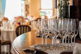 Mediterranean interior - table with glasses — Stock Photo