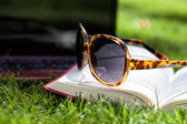 Sunglasses and book — Stok fotoğraf