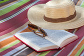 Book and hat — Stok fotoğraf