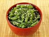 French beans with sesame — Stock Photo