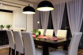 Urban apartment - Wooden table — Stock Photo
