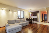 Spacious apartment - Living room — Stock Photo