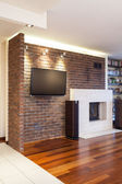 Spacious apartment - Brick wall — Stock Photo