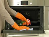 Cleaning the oven — Stock Photo