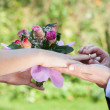 Proposal, man giving a ring — Stockfoto