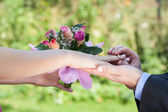 Proposal, man giving a ring — Foto Stock