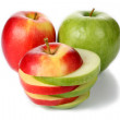 Sliced red and green apple — Stock Photo