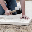 Stock Photo: Installation of paving slabs