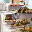 Elaborated table ready for reception — Stock Photo