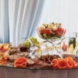 Appetizers at banquet table — Stock Photo