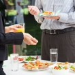 Business talks during lunch — Stock Photo