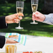 Success celebration in garden — Stock Photo