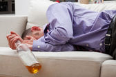 Drunk sleeping businessman — Stock Photo