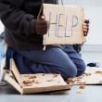 Homeless man begging — Stock Photo