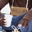 Stock Photo: Male homeless with sign