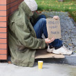 Homeless begging for money — Stock Photo