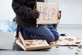 Homeless man begging — Stock Photo