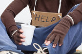 Male homeless with sign — Stock Photo