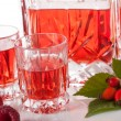 Shots with raspberry liqueur — Stock Photo