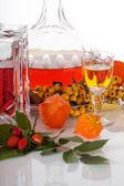 Rowanberry homemade liquer — Stock Photo