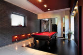 Contemporary interior with a snooker table — Stock Photo