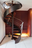 Spiral staircase in a modern luxury house — Stock Photo