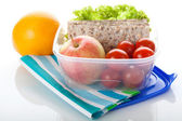Lunch box on white isolated background — Stock Photo