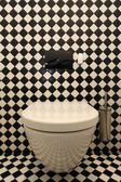 Checkered pattern in toilet — Stok fotoğraf
