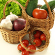 Vegetables in three wickers — Stockfoto