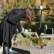 Widow at graveyard in fall — Stock Photo