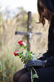 Grieving widow — Stock Photo