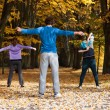 Stock Photo: Aerobic class in park