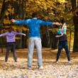 Aerobic class in the park — Stock Photo