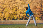 Stretching in the park — Stock Photo