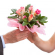 Hands with roses — Stock Photo