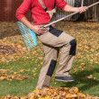 Gardener playing during his job — Stock Photo