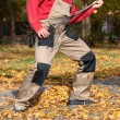 Funny gardener during his job — Stock Photo