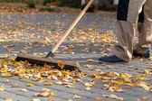 Cleaning up the driveway — Stock Photo