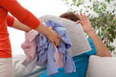 Quarrel of household duties — Stock Photo