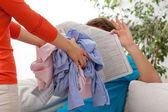 Quarrel of household duties — Foto Stock