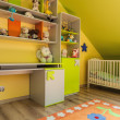 Urban apartment - green and yellow interior — Stock Photo