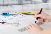 Werken met project architect — Stockfoto