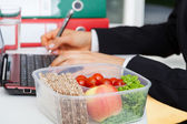 Lunchbox at work — Stock Photo