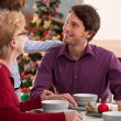 Lucky family during christmas — Stock Photo