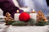 Christmas decoration on the table — Stock Photo