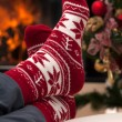 Christmas relax after skiing in mountains — Stock Photo