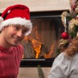 Christmas time in couple — Stock Photo